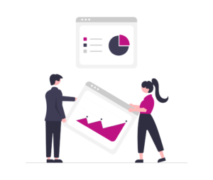 Two human figures creating a dashboard for analytics