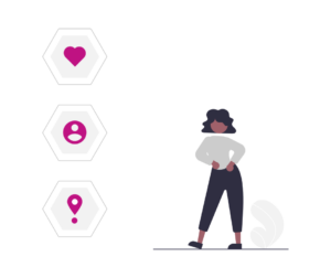 one dancing human figure and three icons representing campaign tracking